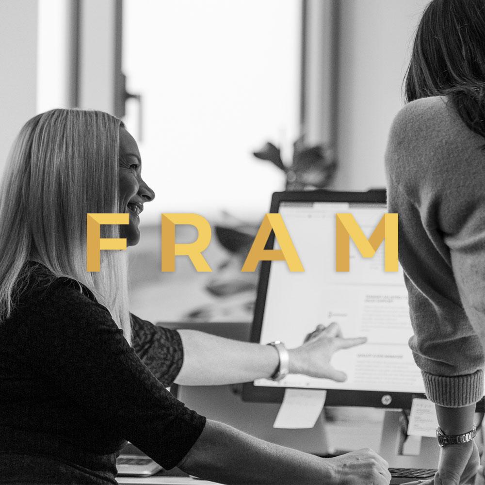 FRAM   Logotyp, grafisk profil, visitkort, hemsida